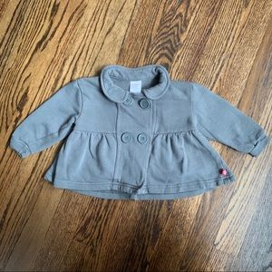 Gray Button Front Baby Jacket by Zutano